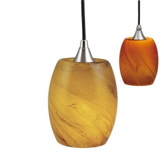 New Mini Pendant Lighting Fixture or Track Light Brushed Nickel Amber Glass