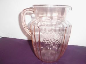 Pink Depression Glass Water Lemonade Pitcher Nice w Flowered Panels