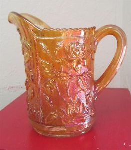 Vintage Carnival Glass Imperial Rose Luster Water Pitcher