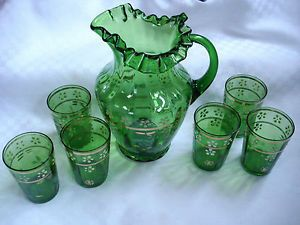 Antique Victorian Hand Painted Enamel Green Glass Pitcher Lemonade Water Set