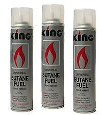3 Large Can King Butane Lighter Fluid Gas Torch Refill Adapters Triple Refined