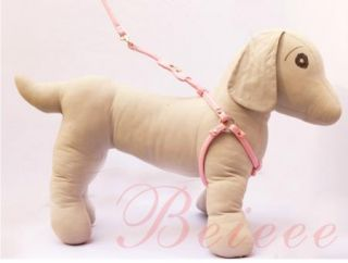PU Leather Dog Soft Leashes Harness Wite Lead Rhinestone for Small Dogs Puppy