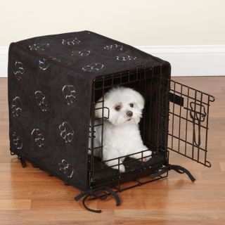 Cozy Soft Paw Print 2 PC Dog Crate Cover Bed Set Black