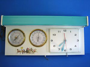 Vtg Retro 1960s Schlitz Wall Mount Light Clock Thermometer Barometer Turquoise