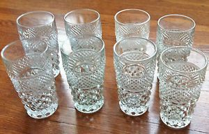 "8 Clear Diamond Point Cut Glass Vintage Wexford Water Glasses 5 1 2"" Tall"