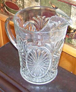 Vintage Cut Glass Heavy Water Pitcher
