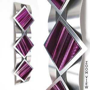 Modern Abstract Metal Wall Art Painting Sculpture Contemporary Home Decor Purple