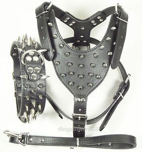 Black Leather Studs Dog Harness Spikes Collar Leash Set Pit Bull Mastiff Terrier