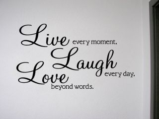 Live Laugh Love Removable Wall Quote Decal Sticker Wall Art Decor Lettering