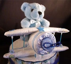 Airplane Baby Shower Diaper Cake Topper Decorations