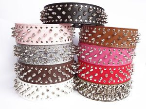 Colourful Leather Dog Collar Spikes Studs Collars Pit Bull Dog Terrier Collars