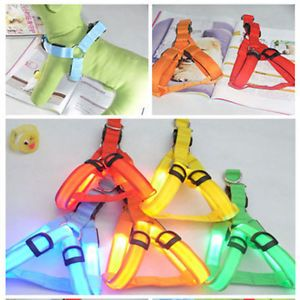 Safety Dog Pet Belt Harness Leash Tether 3 Mode Glow LED Flashing Light 5 Color