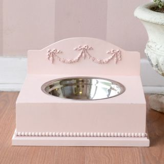 Shabby Cottage Chic French Double Swag Dog Cat Pet Feeder Baby Pink Roses