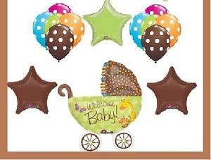 Jungle Safari Polka Dot Balloons Lime Green Chocolate Baby Shower Decorations