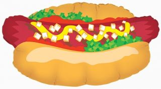 "Fathers Day 30"" Hot Dog Balloons Grill BBQ Cookout Birthday Summer Free Ribbon"
