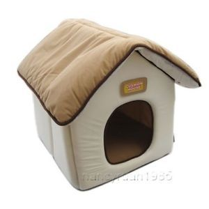 Iris Soft Pet Dog Cat House Bed Kennel Brown Small