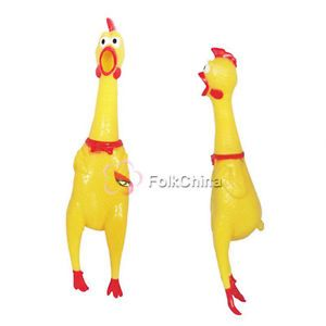 Screaming Yellow Rubber Chicken Pet Dog Toy Squeak Squeaker Chew Toy Gift Size M