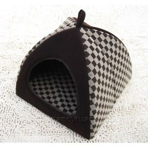 New Fashion Classical Grid Pet Dog Cat House Bed Tent Chocolate Small Sale
