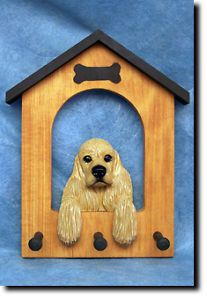 Cocker Spaniel Dog House Wooden Leash Holder