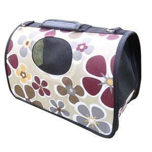 Portable Folding Fabric Canvas Pet Dog Cat House Travel Carrier Tote Hand Bag