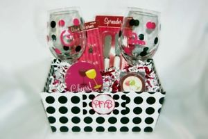 Super Cute Party Girl Gift Basket w Custom Wine Glasses