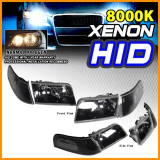 Bixenon HID 98 10 Ford Crown Victoria Black Headlights Head Lights Corner