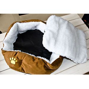 New Brown Soft Cozy Warm Fleece Pet House Dog Bed Cat Bed for Medium Dog