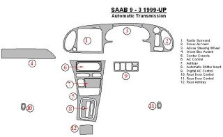 Saab 9 3 93 9 3 Interior Wood Dash Trim Kit Set 1999 99 2000 2001 01 2002 02