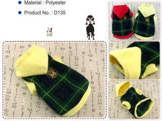Dog Cat Clothes Warm Hoodie Shirts Pet Apparel Check Pattern Coats Green D135