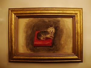 Original Antique Watercolor and Pen Yorkshire Terrier Yorkie Dog Painting Framed