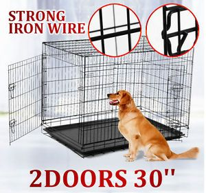 "30"" 2 Doors Large Folding Pet Dog Crate Cage Kennel with Strong Wire"