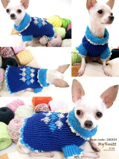 Handmade Hand Knit Crochet Dog Puppy Blue Dress Apparel Clothing Sweater D854