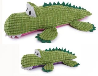 Zanies Corduroy Croc Dog Toy Squeaker Plush Squeaky Toys Small or Large Growl