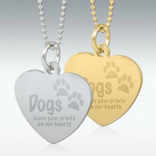 Dogs Leave Paw Prints Engraved Heart Pendant