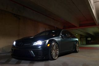 Matte Black 2012 Mercedes Benz C63 Black Series Track Package Vossen Wheels