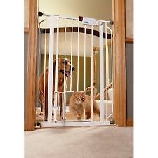 Carlson 0941PW Extra Tall Walk thru Gate with Pet Door White Pet Gate Baby Gate