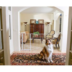 Easy Setup Extra Wide Tall Dog Pet Gate Fence Walk thru Door Mounting Brackets
