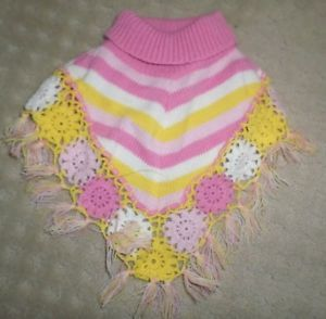X Small Pink Yellow Dog Sweater Striped Poncho Turtle Neck