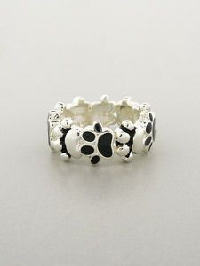 Black Paw Print Stretch Ring Jewelry Rainbow Bridge Animal Rescue Dog Cat Horses