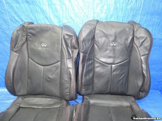 11 12 Infiniti G37 Coupe IPL Black Leather Front Seat Covers Red Stitching
