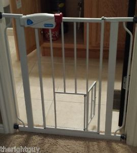 Extra Wide Baby Gate with Pet Dog or Cat Door White Adjustable