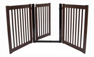 Wood Walk thru Door Dog Gate Expand to 5 ft Wide Fence Zig Zag Indoor Barrier