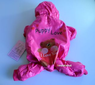 Cuet Pet Dog Puppy Winter Warm Apparel Cloth Coat Trouser Red Bear XS s M L Size