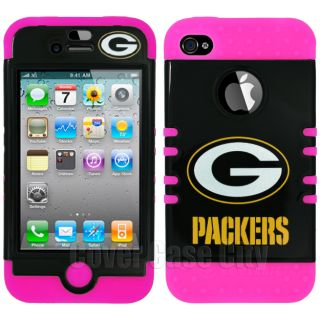Hot Pink NFL Green Bay Packers Impact Hybrid Cover Case for Apple iPhone 4 4S