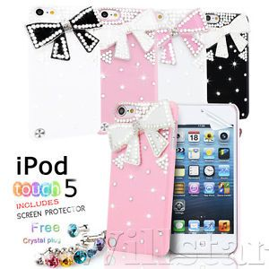 For Apple iPod Touch 5th Gen Luxury Bling 3D Crystal Diamond Bow Hard Case Cover