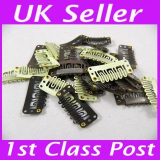 Brown Black Blonde Hair Piece Snap Clips Extensions Wig Weft 28 32mm Micro Rings