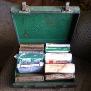 Vintage Military Metal First Aid Kit Box with Contents Bandages Ointment Etc
