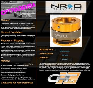 NRG Ball Lock Quick Release Hub Steering Wheel Hub NRG SRK 200RG