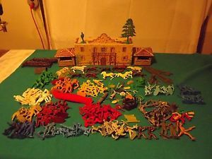1950s Marx Toys The Alamo Box and Contents Trees Horses Soldiers Fences
