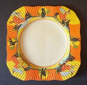 Dead Mint Vintage Art Deco Broomed Witch Cats Owl Bat Halloween Paper Plate